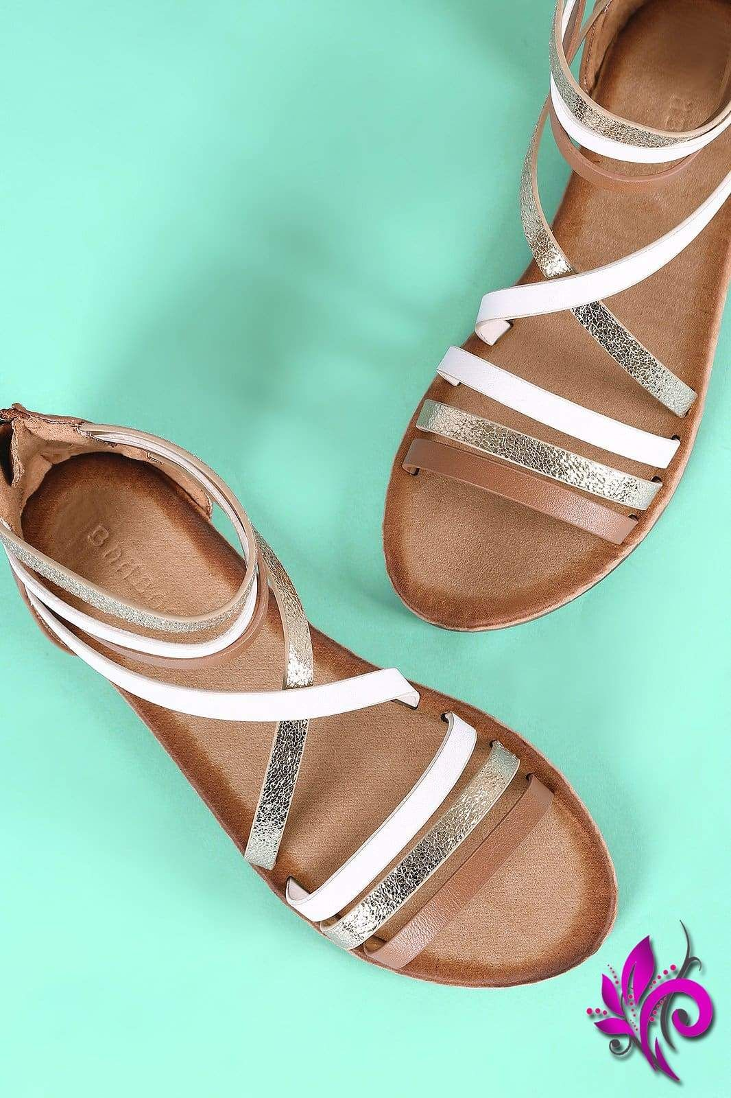 05f4c926415e Bamboo Tri-Tone Open Toe Gladiator Flat Sandal