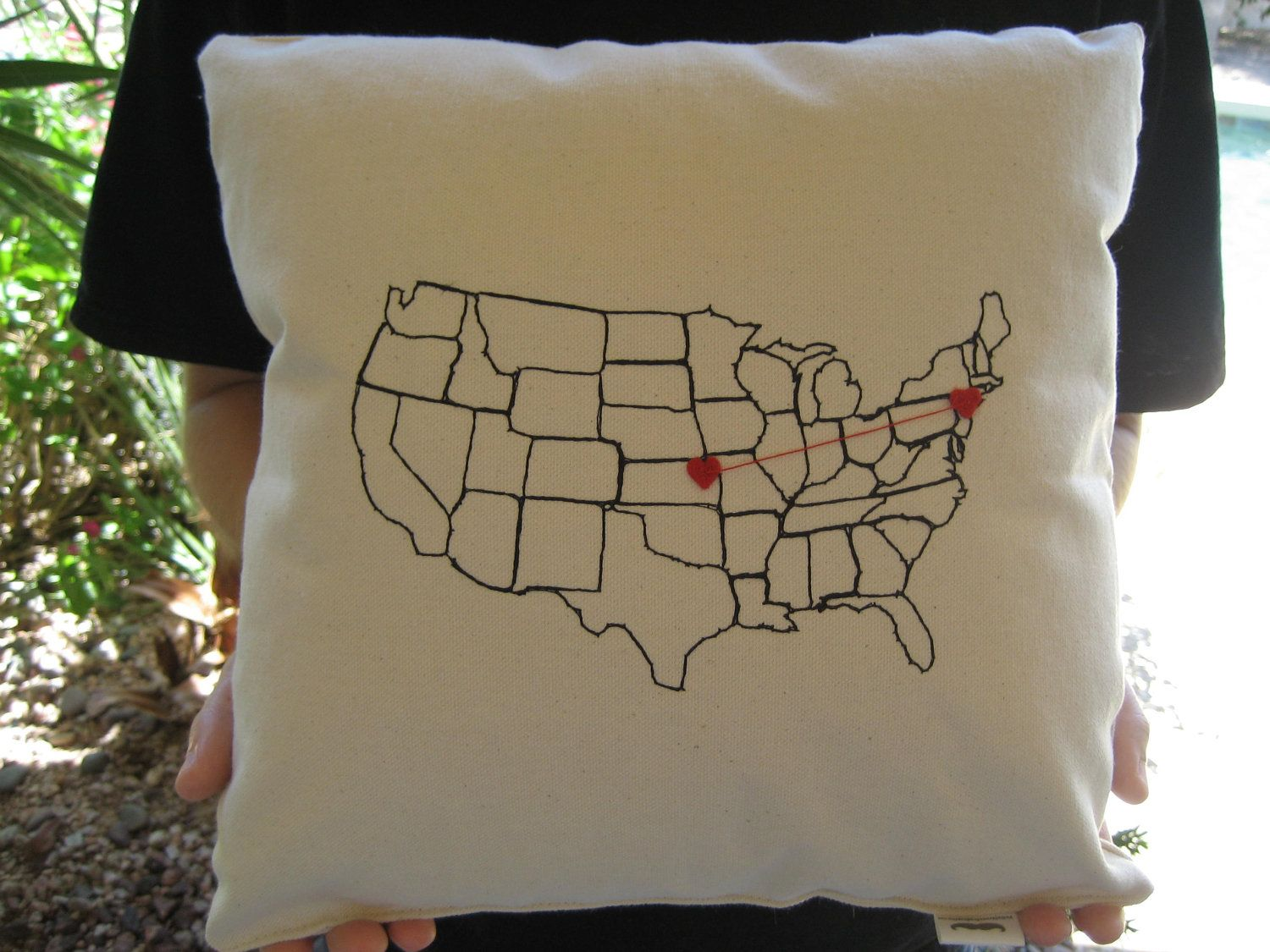 Personalized valentine heart strings map pillow for valentines day
