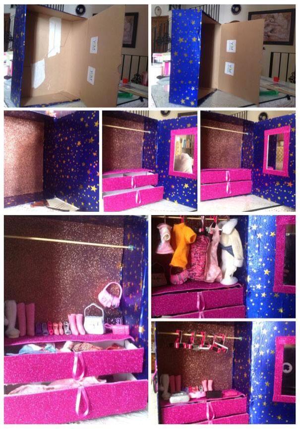 Aparador De Comedor Uruguay ~ Hacer un armario para las muñecas forrando una caja de zapatos Manualidades para reciclar
