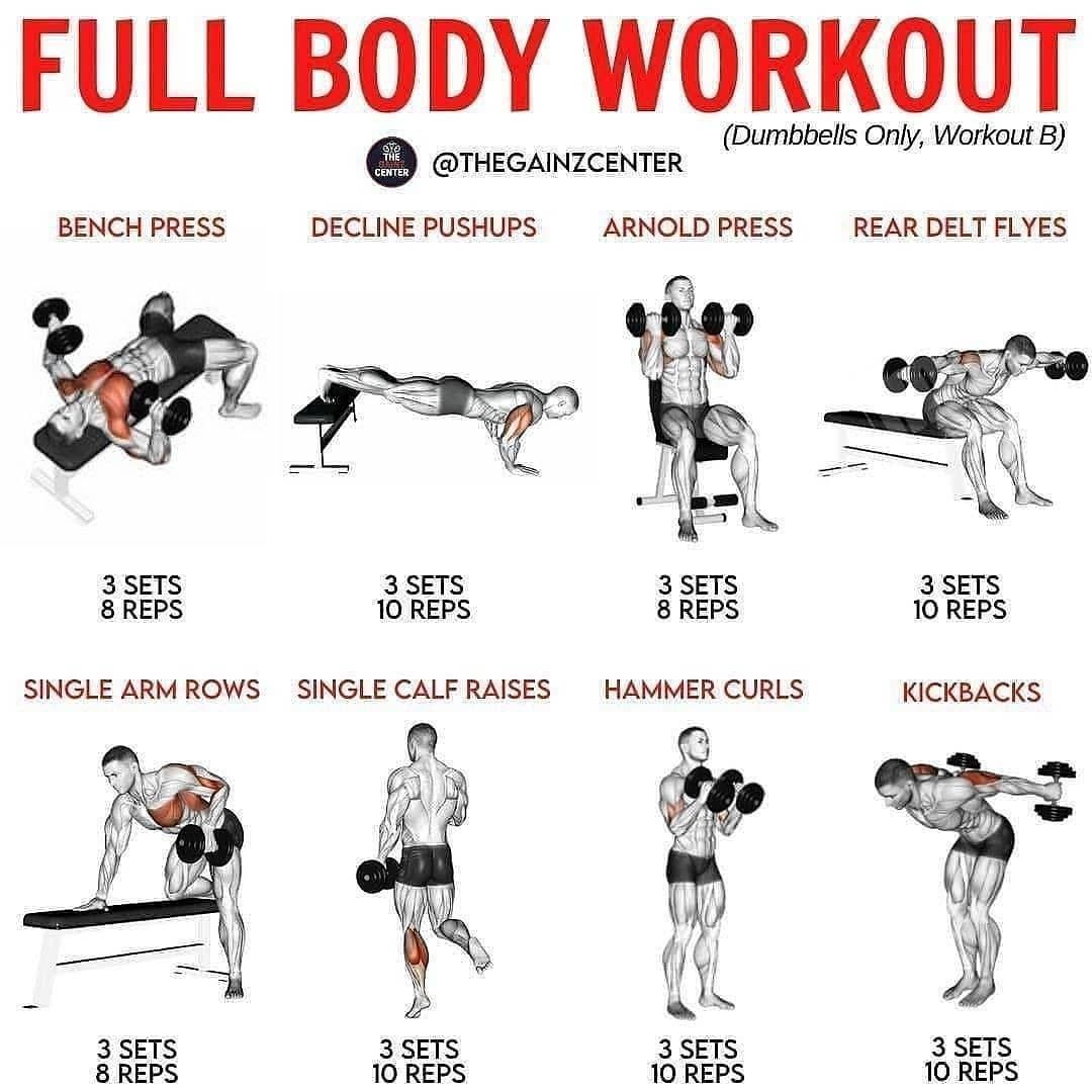 All Fitness Tips All Fitness Tips Posted On Instagram Full Body Workout Dumbbells Only Workout B In 2021 Full Body Workout Fitness Body Workout