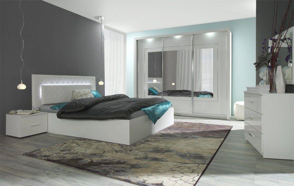 Komplett Schlafzimmer Panarea In Hochglanz Weiss Mit Spiegel
