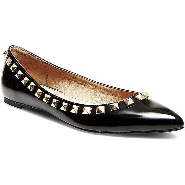 Steve Madden Women's Lansingg Flats (585 SEK) ❤ liked on Polyvore featuring shoes, flats, black, steve madden, flat shoes, pointed flat shoes, pointed-toe flats and flat pointy shoes