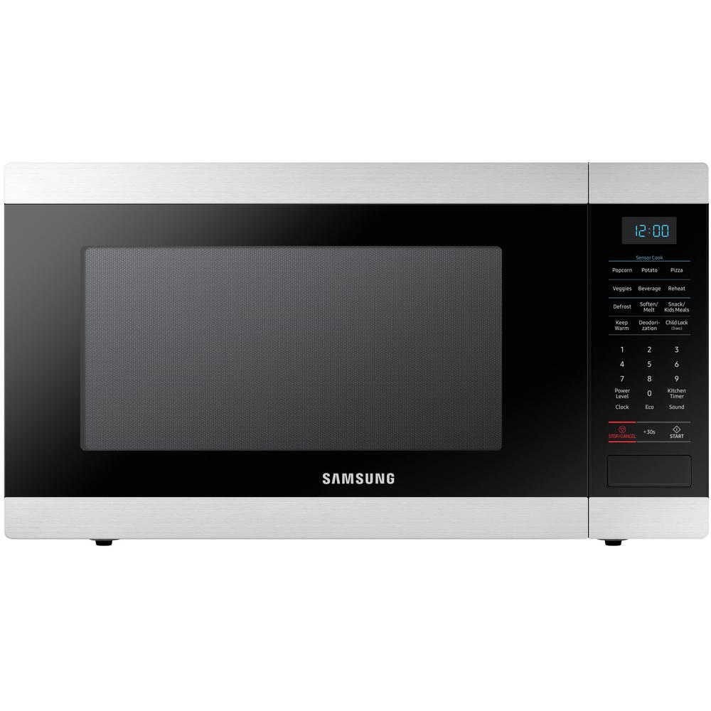 Samsung 1 9 Cu Ft Countertop Microwave With Sensor Cook In Stainless Steel Ms19m8000as The Home Depot In 2020 Stainless Steel Microwave Countertop Microwave Samsung Microwave