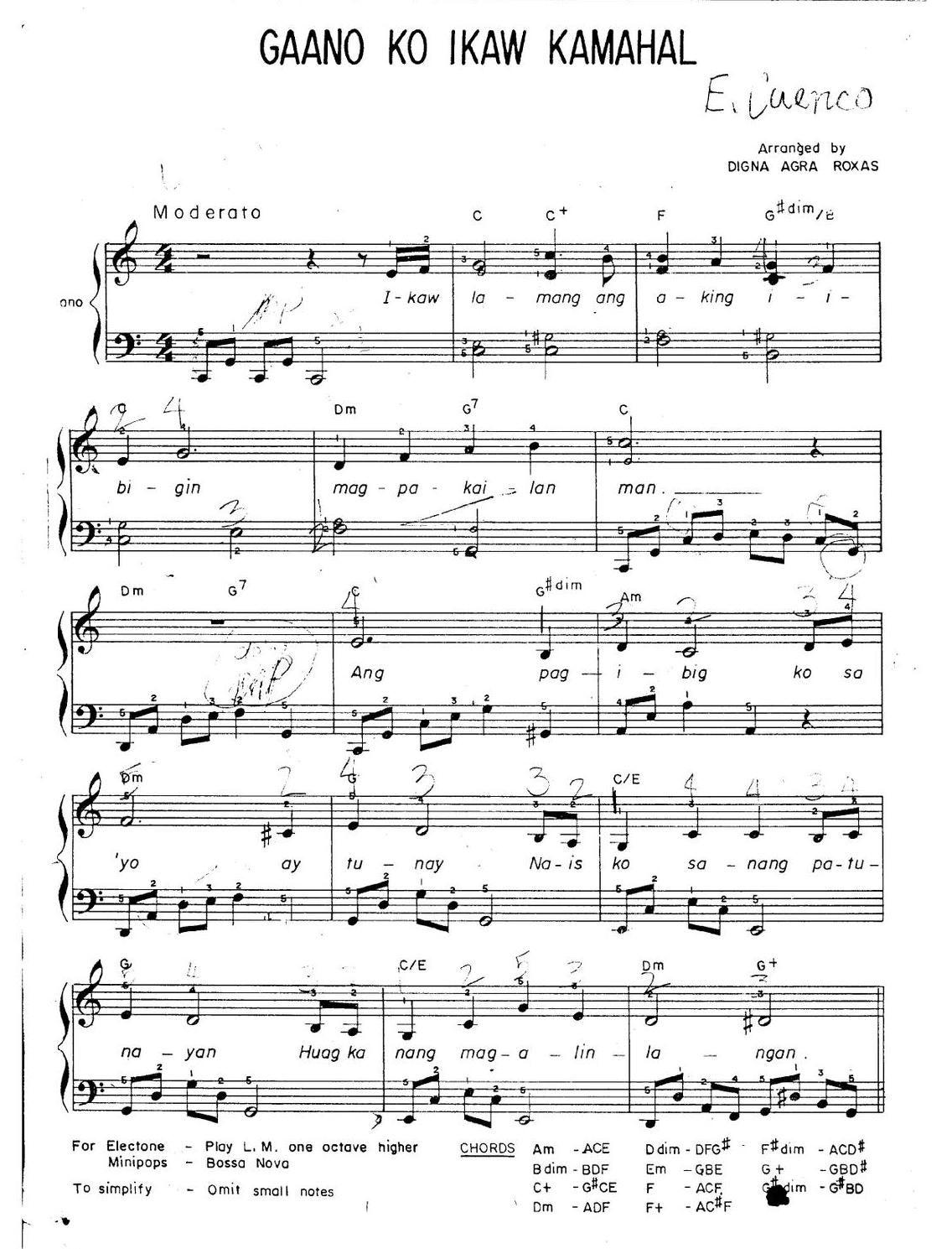 Gaano Ko Ikaw Kamahal Pilipino Piano Sheet Piano Sheet Piano