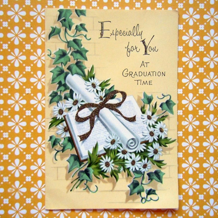 Vintage unused glittered greeting card diploma school book ivy vintage unused glittered greeting card diploma school book ivy graduation card kristyandbryce Gallery