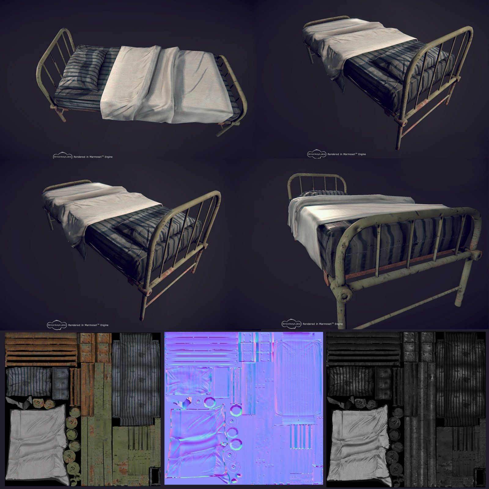 Pritesh Sakhare 3d Artist Hospital Bed In Zbrush モデリング デザイン テクスチャ