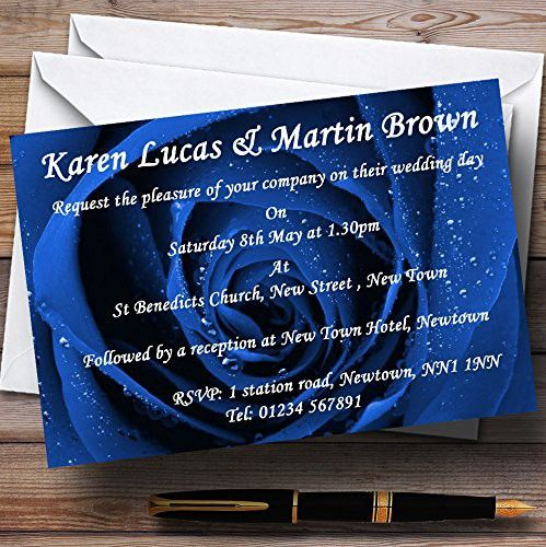 Stunning royal blue rose personalized wedding invitations wedding stunning royal blue rose personalized wedding invitations solutioingenieria Choice Image