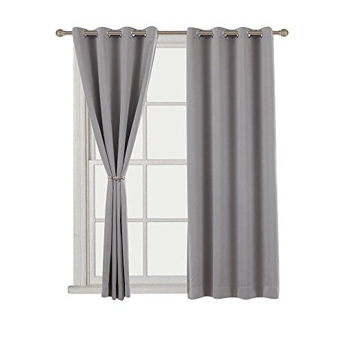 Amazon Com Cherry Home Thermal Insulated Blackout Curtain For Bedroom 1 Panel 52 By 96 Inch Gr Thermal Insulated Blackout Curtains Curtains Blackout Curtains