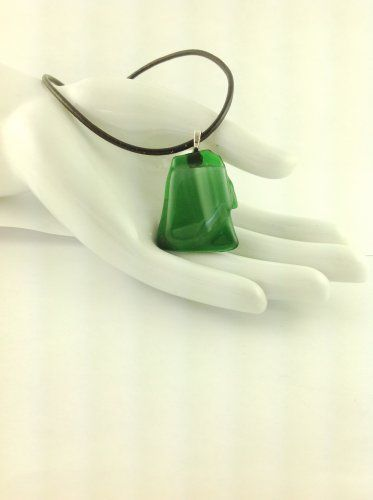 Fused Glass Green Abstract Pendant Leather Cord Necklace      Hand Crafted Jewelry