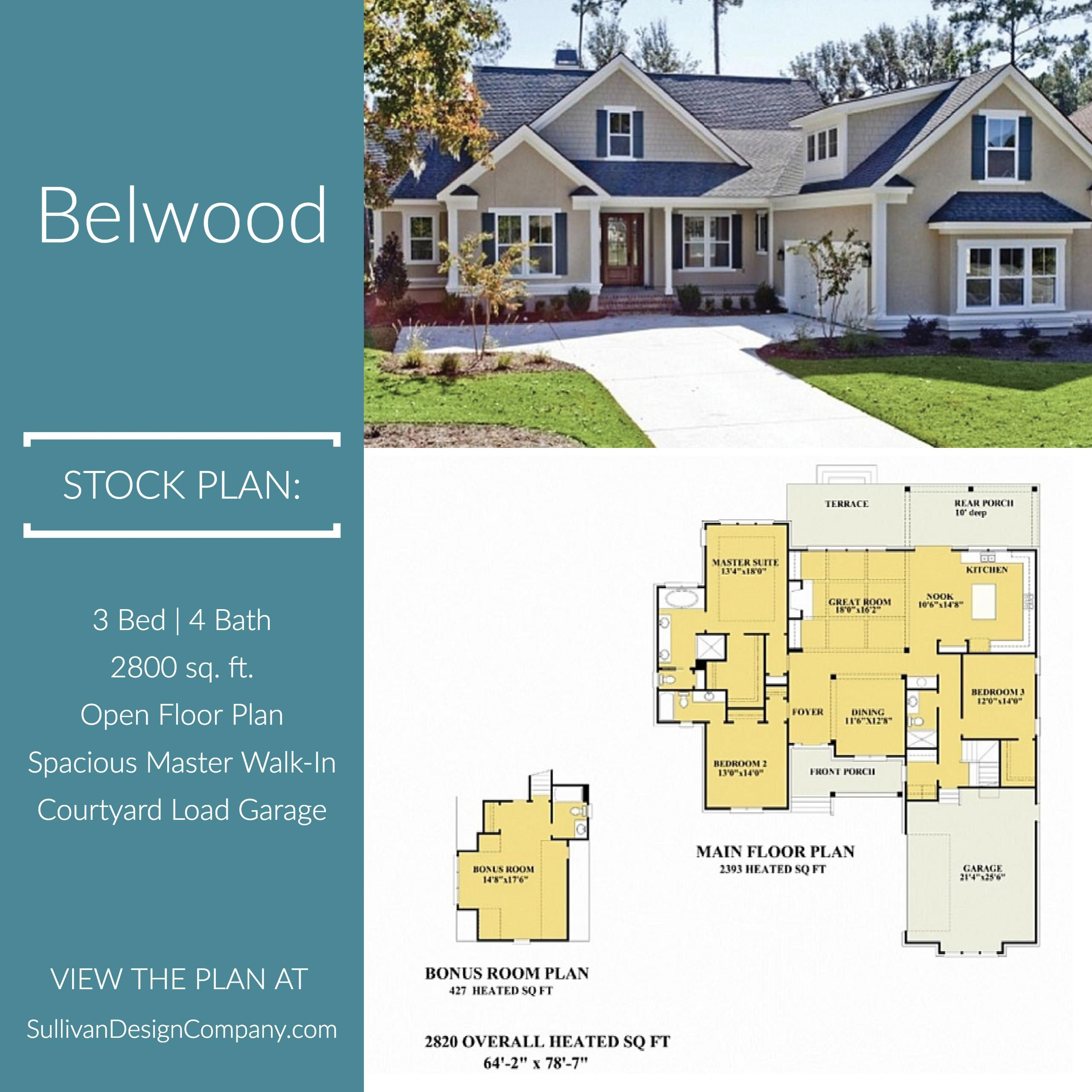 Belwood Cottage Style House Plans House Plans House Plans One Story