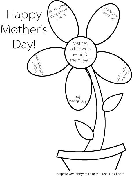 Lds Coloring Pages Mothers Day Mormon Share Mother39s Day Flower