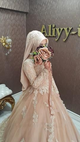 7be879e0f1 A Line Muslim Wedding Dress Lace Long Sleeve Kaftan Champagne Wedding Gown