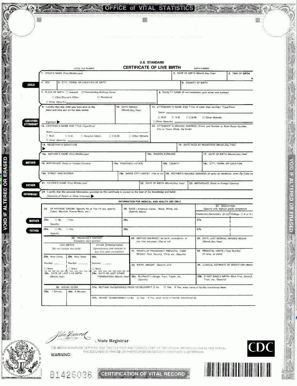 Official Blank Birth Certificate With Regard To Official Birth