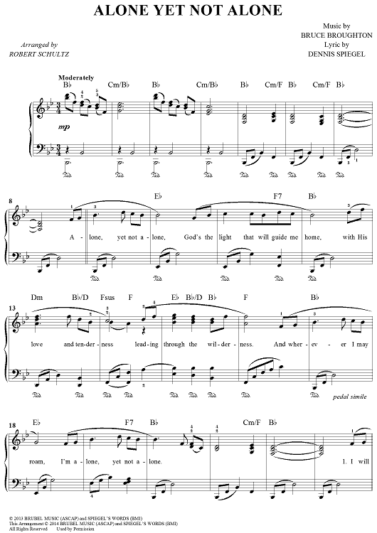Alone Yet Not Alone Easy Piano Sheet Music By Bruce Broughton