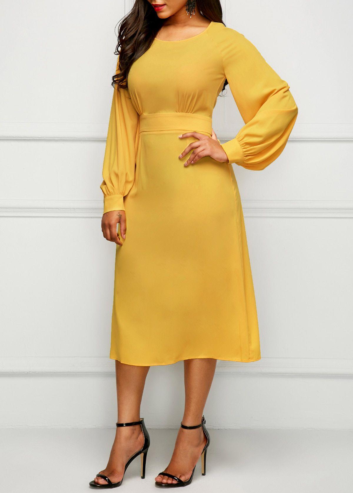 Yellow band waist long sleeve dress dresses pinterest yellow
