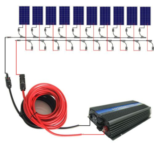 1000watt Grid Tie System 10 100w Solar Panel W 1kw Inverter For Home Power 12v Solar Panel Solar Panel System Solar Panels