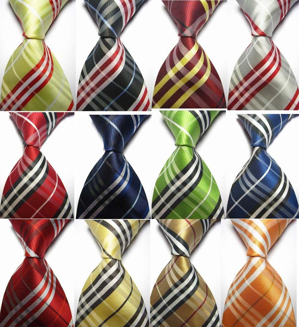 Business Black White Striped New Classic WOVEN Silk JACQUARD Necktie Men/'s Tie