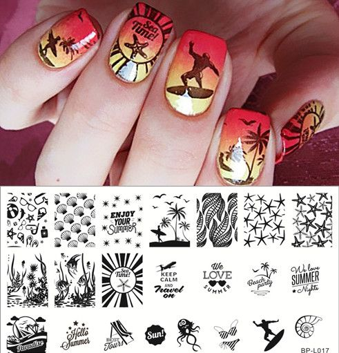 $259 Summer Beach Sea Nail Art Stamp Template Image Plate BORN - stamp template