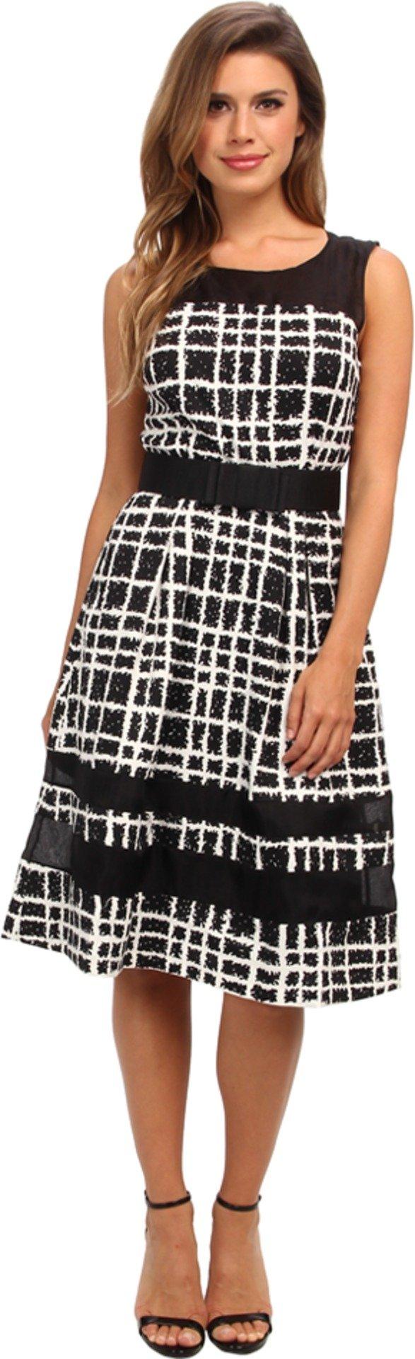 Badgley mischka womenus plaid print combo cocktail black multi dress