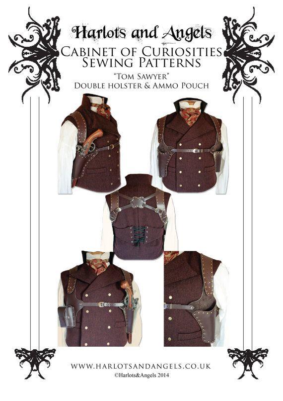 Shoulder Holster Pattern Pdf : shoulder, holster, pattern, Steampunk, Holster, Pattern, Download, Leather, Holster,, Working