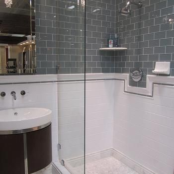 gray subway tile bathroom - design, decor, photos