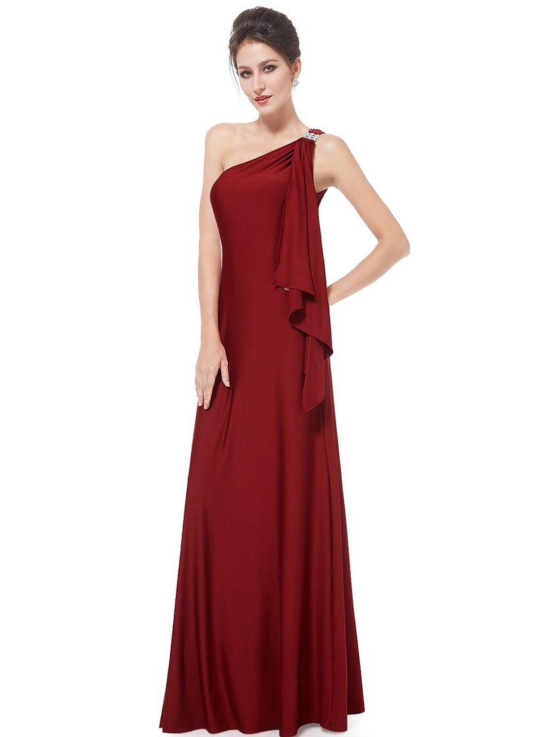 Ever pretty womens stretchy single shoulder prom gown evening dress