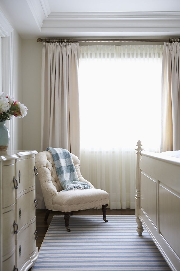 Triple Euro pleat drapes and sheers Muskoka Living