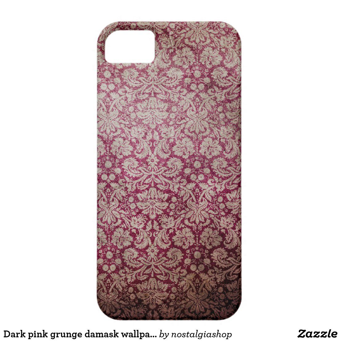 Dark pink grunge damask wallpaper Case-Mate iPhone case | Zazzle.com #darkiphonewallpaper