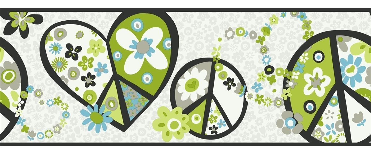 Retro Love & Peace Signs In Lime Green & Blue York