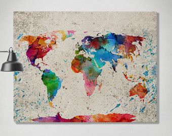 World Map Watercolor Print Canvas Map Painting Travel Map Large - Large world map painting