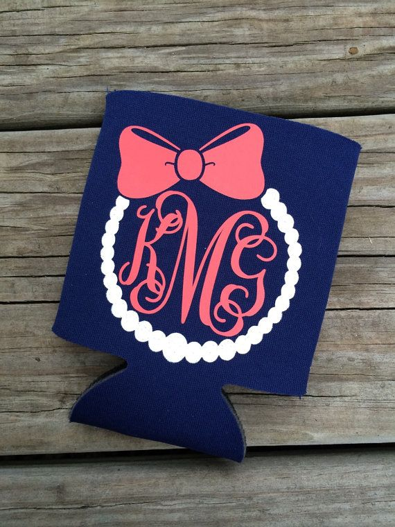 Monogram Pearl Necklace And Bow Can Cooler Cricut