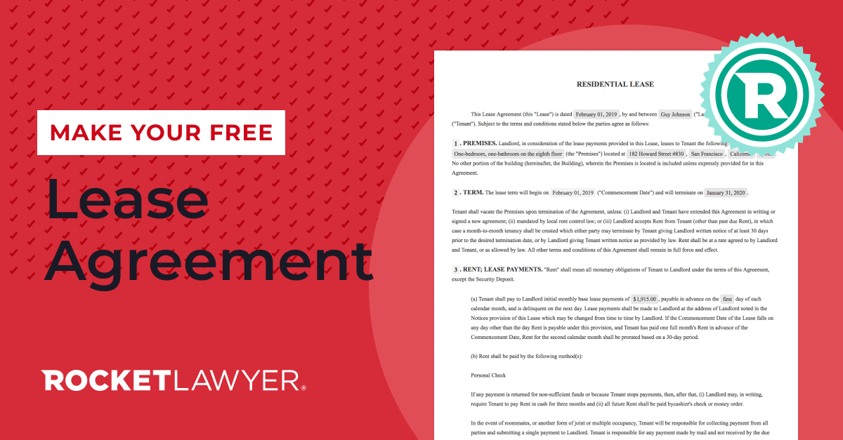 Make your free Lease Agreement with Rocket Lawyer in 2020
