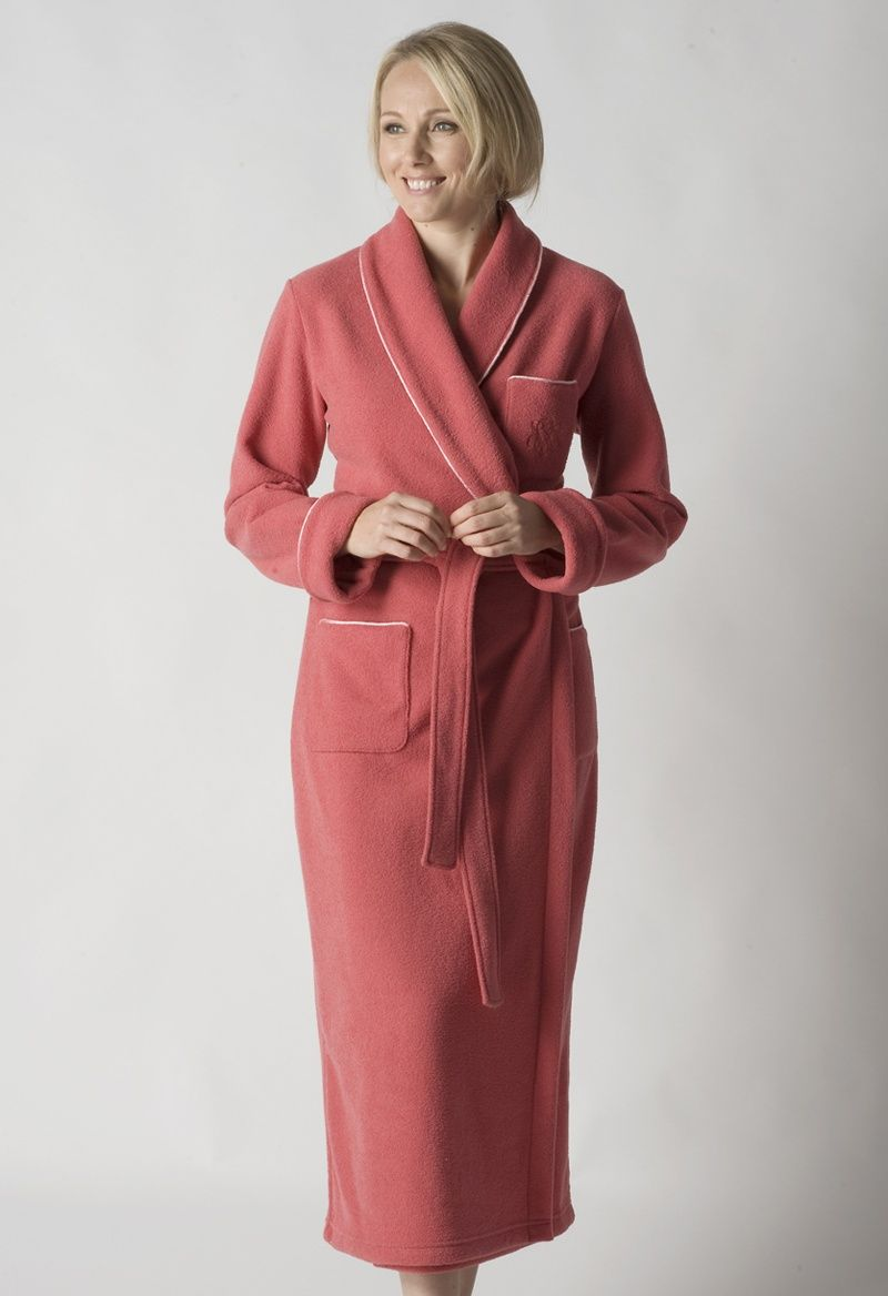 Ladies Extra Warm Dressing Gown with 3 Pockets - Rosewood   Best ...