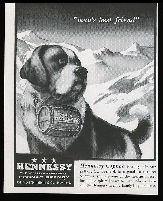 1955 Saint Bernard dog with brandy barrel art Hennessy cognac vintage print ad