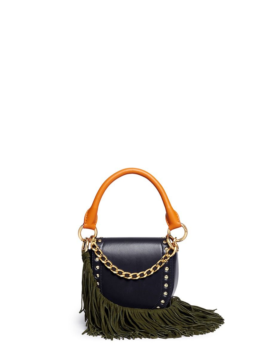 a053c3871a99 SACAI  Horse Shoe  fringe strap leather mini saddle bag.  sacai  bags  shoulder  bags  hand bags  suede  lining