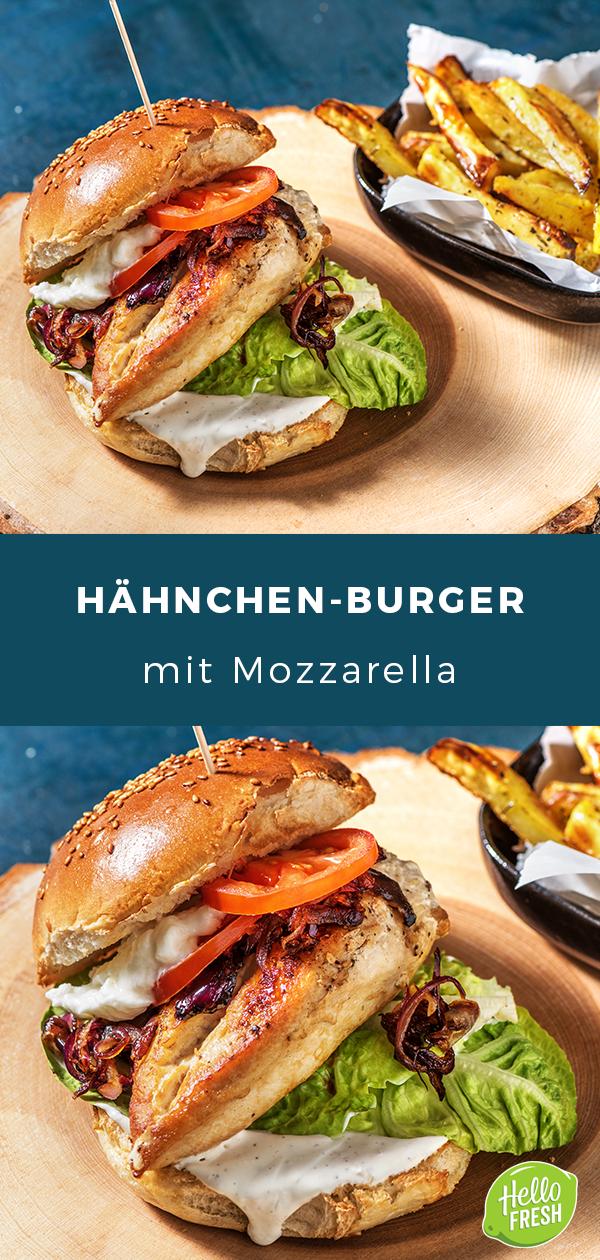 Hähnchen-Burger mit Mozzarella, würziger Zwiebelade und knusprigen Ofenpommes #ofengerichteschnell