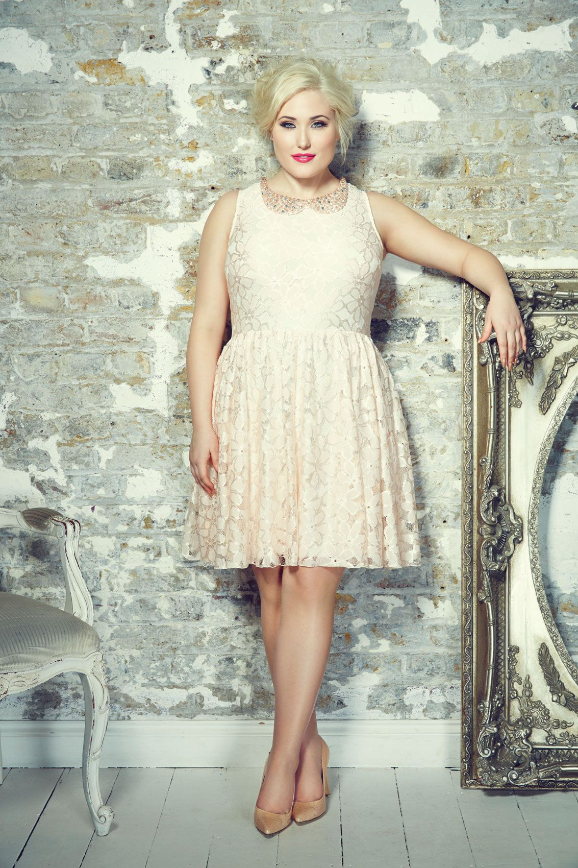 Nude Pink Floral Lace Dress With Jewelled Peter Pan Collar -9599