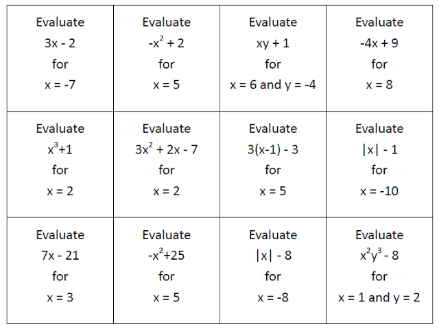 Evaluating Algebraic Expressions Sorting Cards Free Download Evaluating Algebraic Expressions Algebraic Expressions Math Expressions