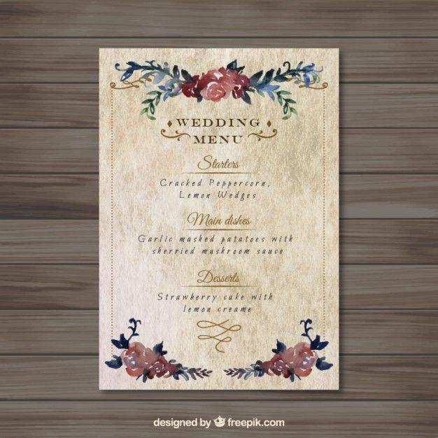 floral menu mariage vintage en 2019