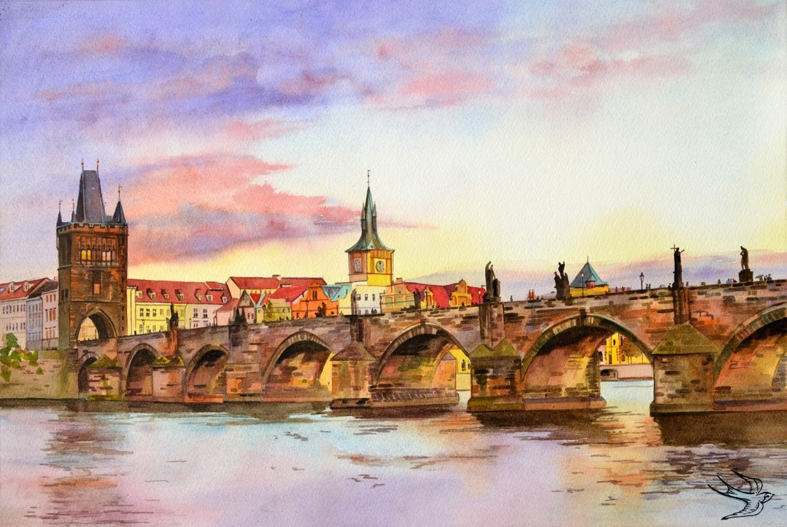 Прага рисунок акварелью