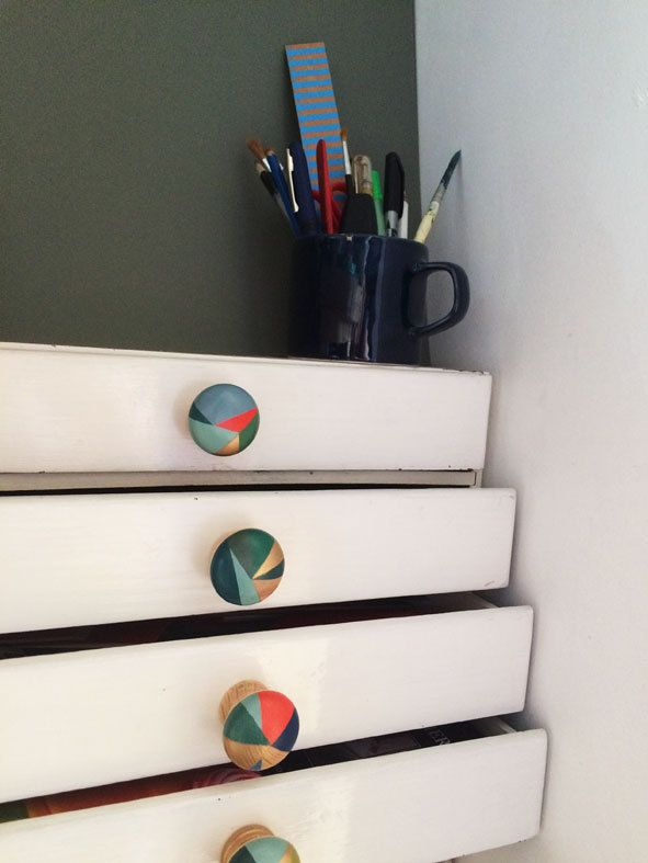 Hand painted colourful door knobs handles by PaintedWoodenThings ...