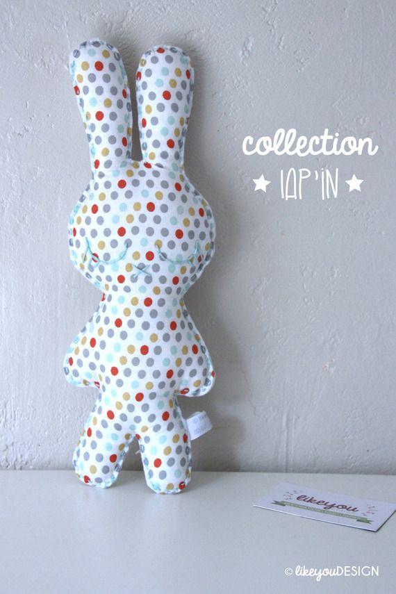 Doudou Lap'in -Pois Mixtes- doudou/peluche pour bébé, tissu recyclé, personnalisable