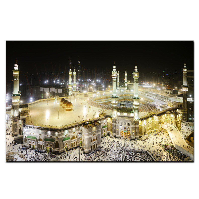 HD Print Mecca Islamic Sacred Landscape Oil Painting Religious Architecture Muslim Mosque Wall Picture for Living Room Cuadros