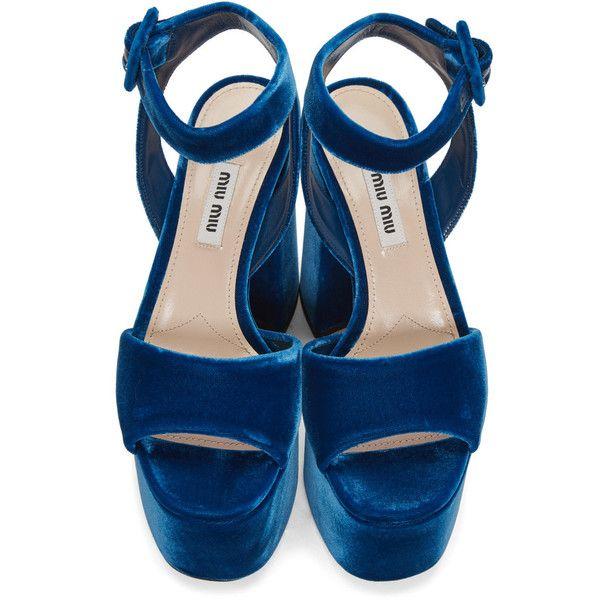7f510a5f442 Miu Miu Blue Velvet Platform Sandals featuring polyvore