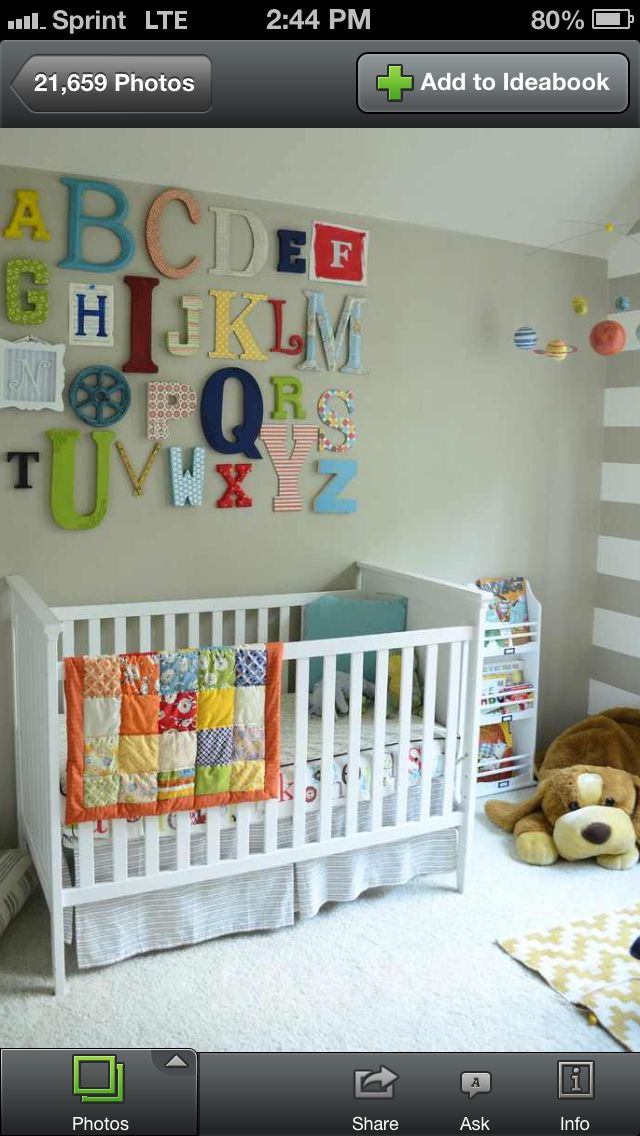 Love The Idea Of Different Kinds Of Letters On The Wall  Nursery