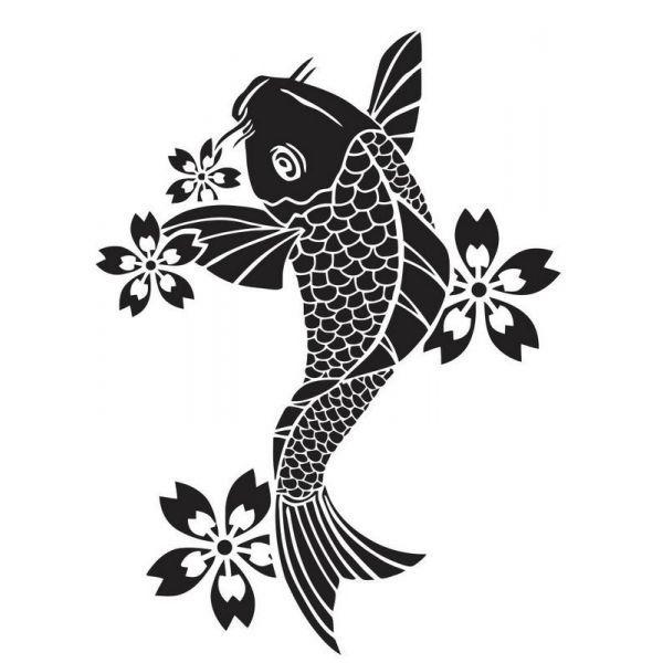Pochoir pour tatouage poisson japonais koi poisson for Koi japonais prix