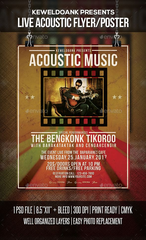Live Acoustic Flyer Poster Acoustic Event Flyers And Flyer Template