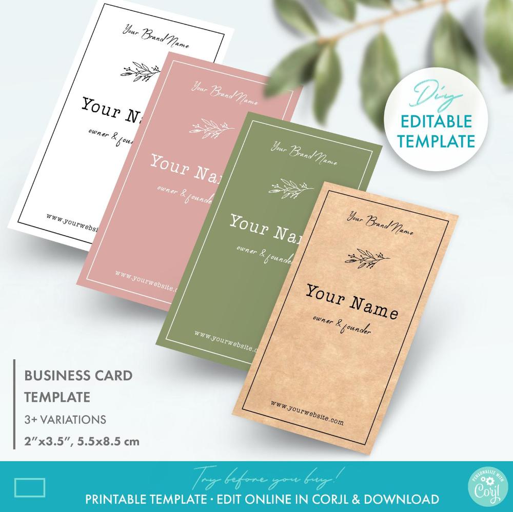 Floral Editable Business Card Template Printable Rustic Kraft Etsy In 2021 Kraft Business Cards Business Card Template Card Templates Printable