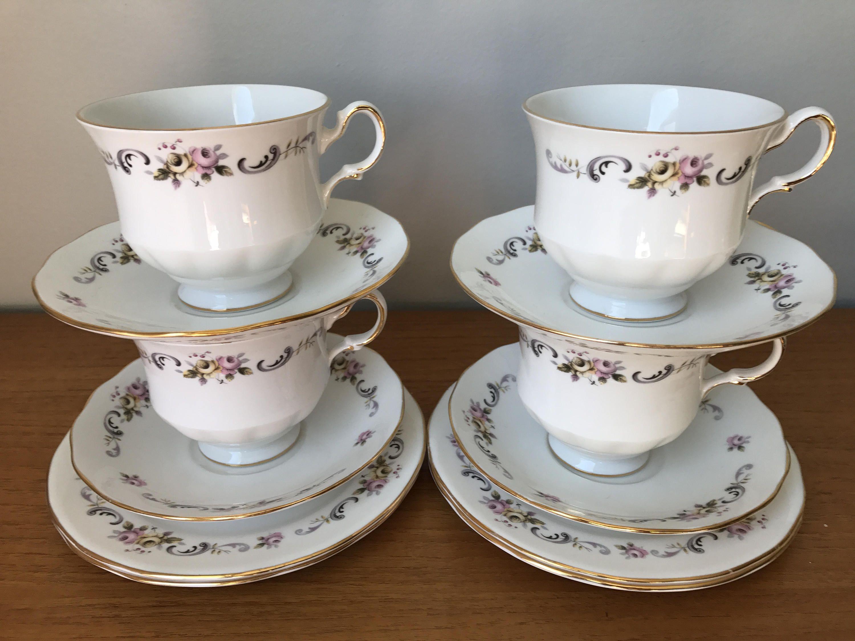small decorative metal basket birds and flowers china.htm gainsborough bone china tea set  vintage tea cups saucers plates  gainsborough bone china tea set