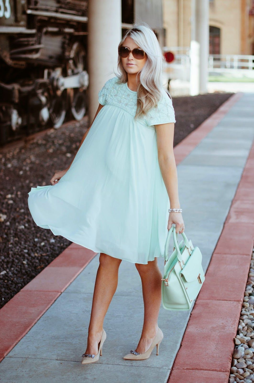 Cute Mint Maternity Dress Cara Loren Sweet Lil Babies